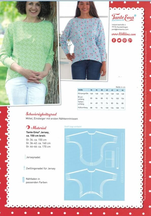 Tante Ema Schnittmuster Nr. 7: Damen Fledermausshirt | Rose ...