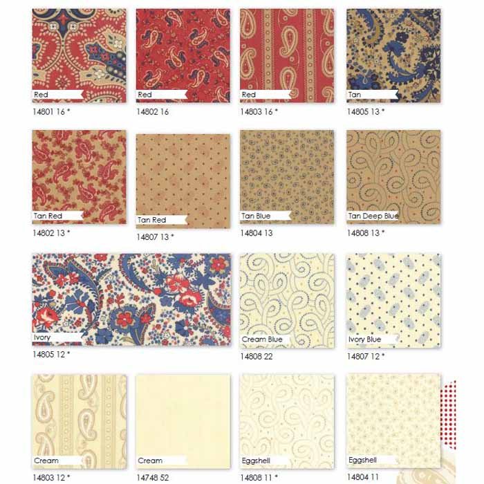 Moda-Fabrics-Polka-Dots-rote-und-beige-Stoffe